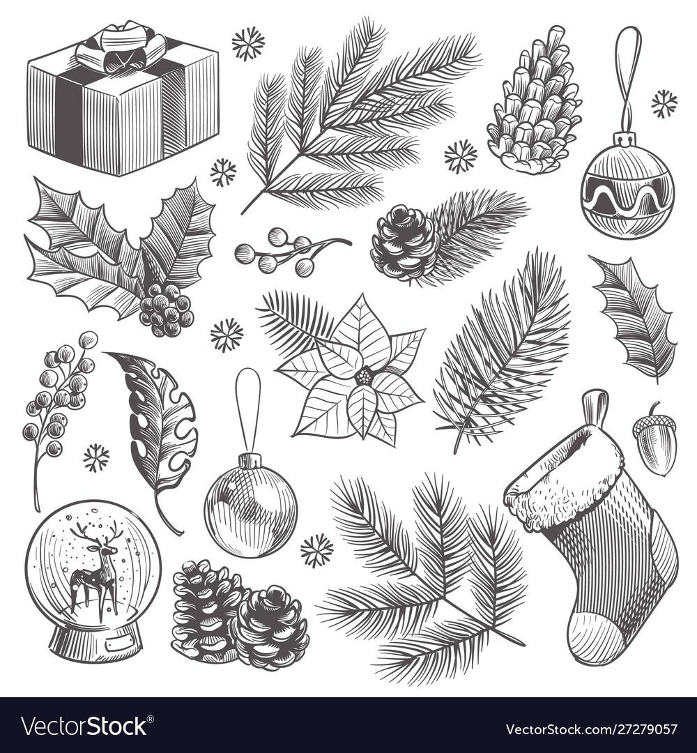 Sketch decoration xmas set christmas hand drawn