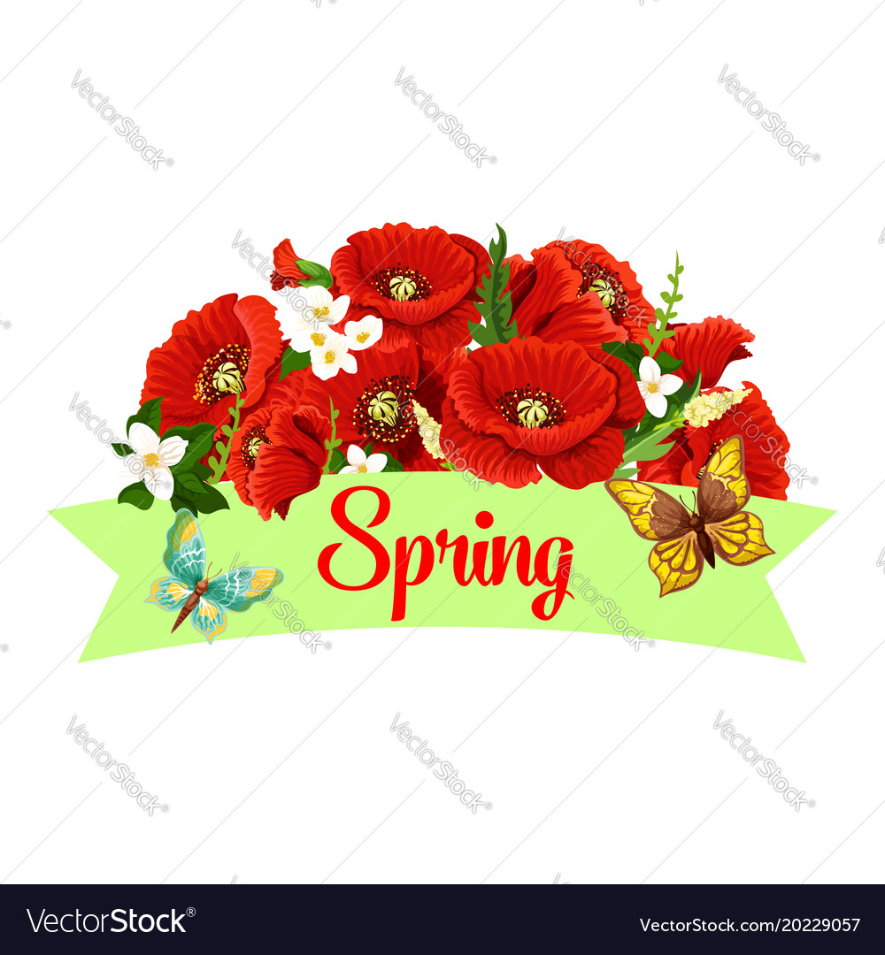 Spring Time Season Poppy Flowers Icon Royalty Free Vector