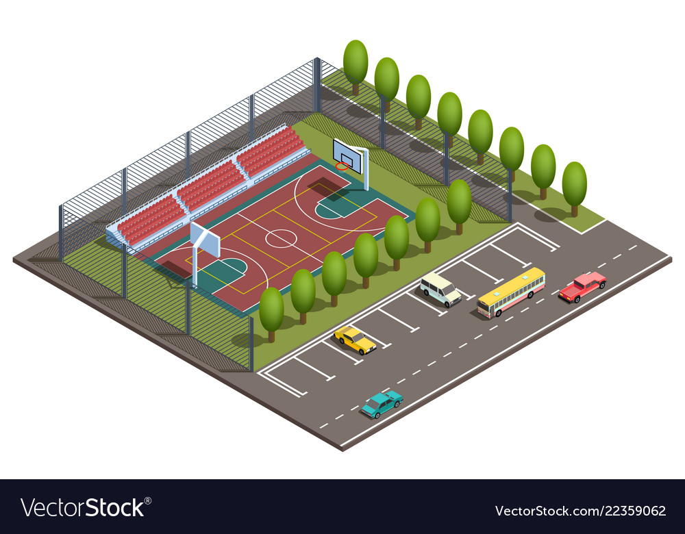 3d isometric basketball field car parking