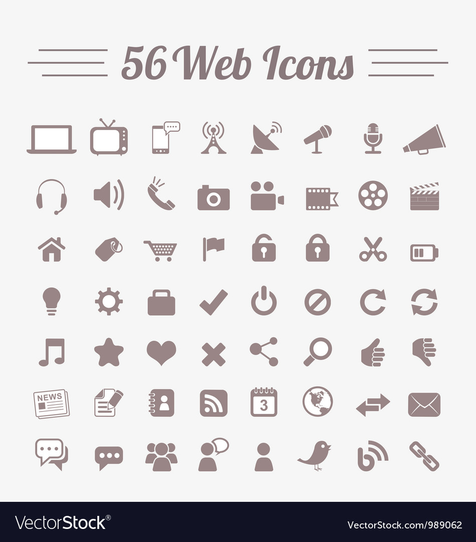 56 Web Icons vector image