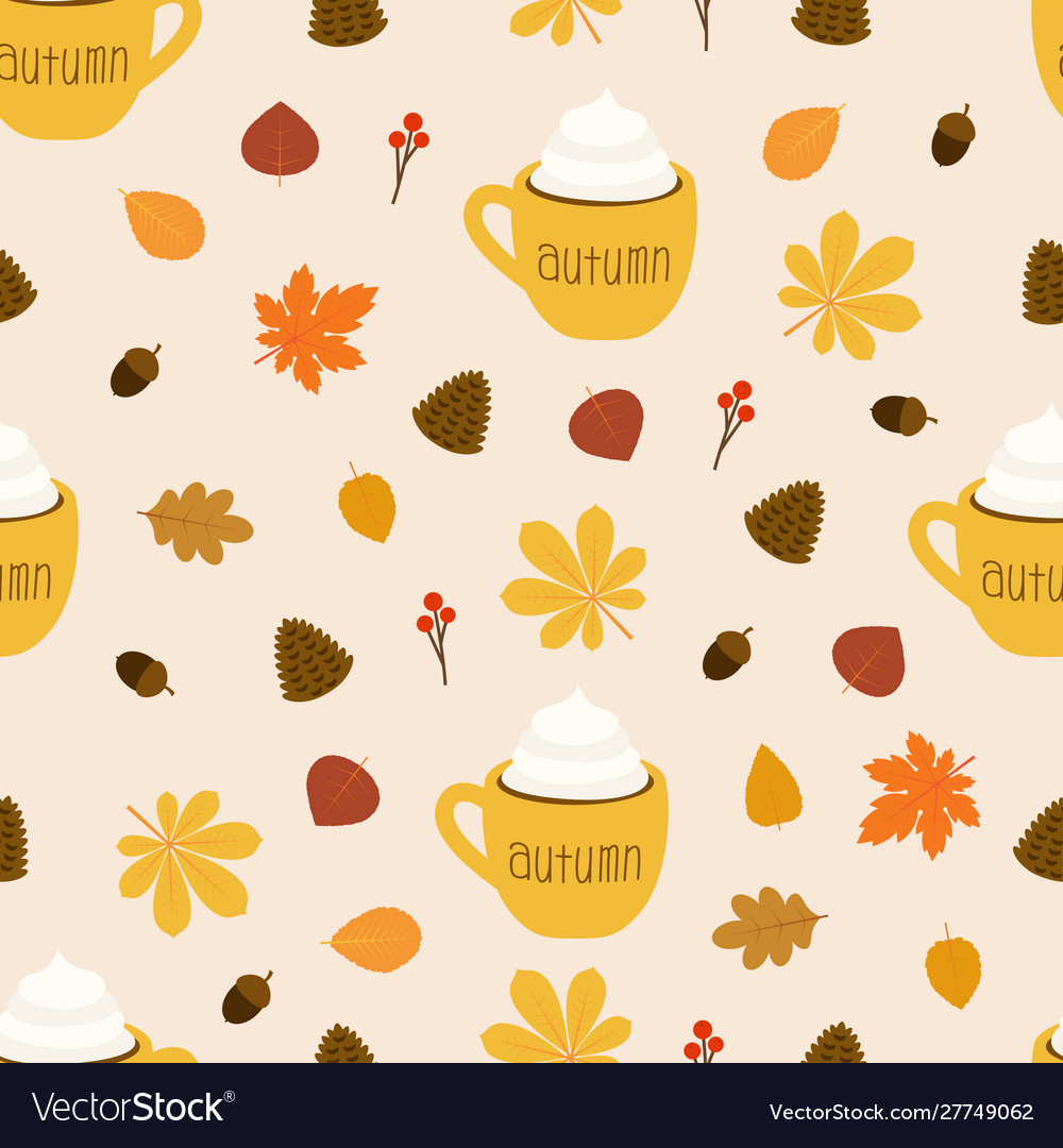 Autumn pattern cup coffee on leaves