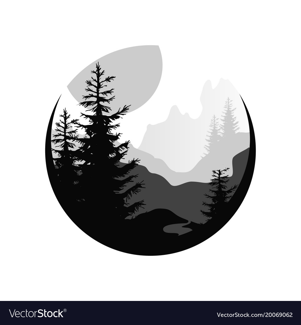 Beautiful nature landscape with silhouettes of vector image