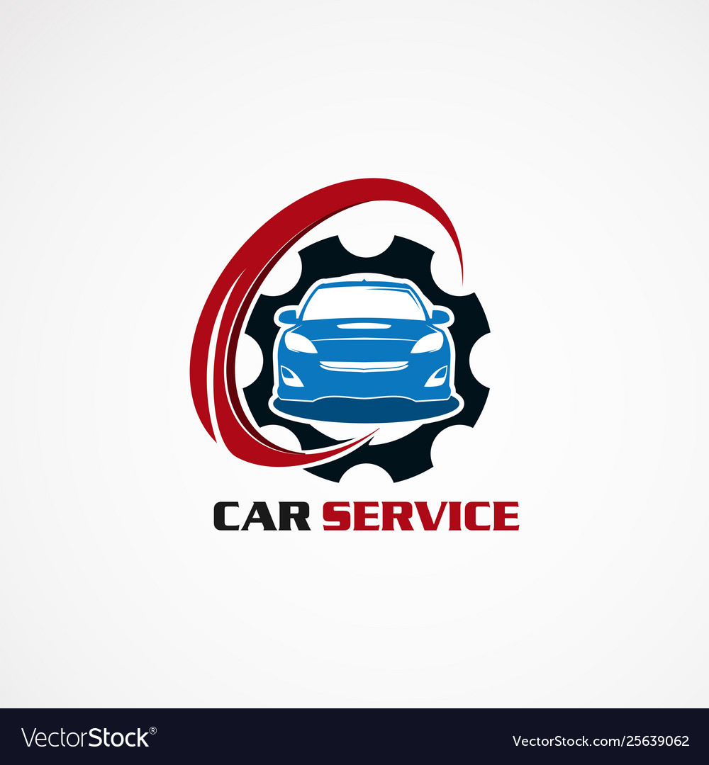Car service with blue gear logo icon element and