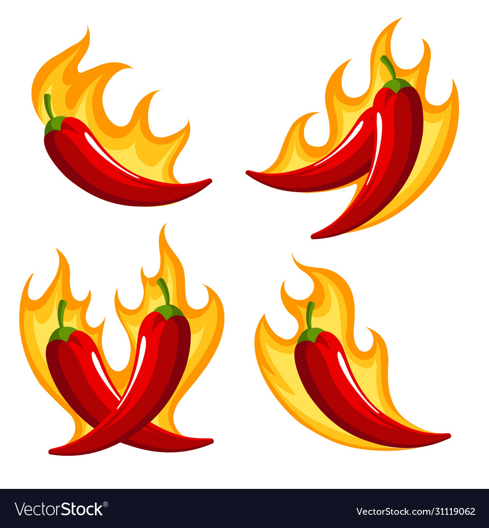 Chili peppers on fire retro emblem set