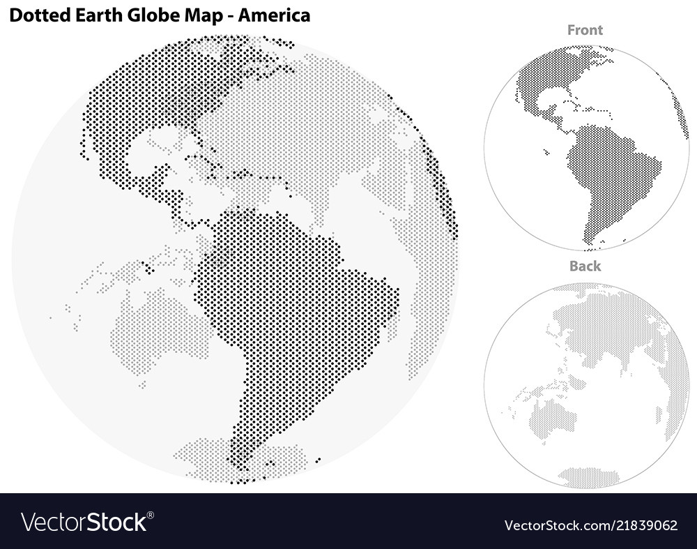Dotted earth globe with central view of america