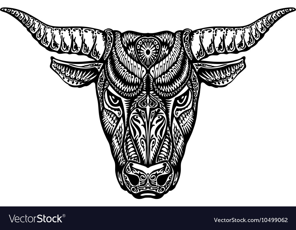 Ethnic ornamented bull ox or minotaur taurus