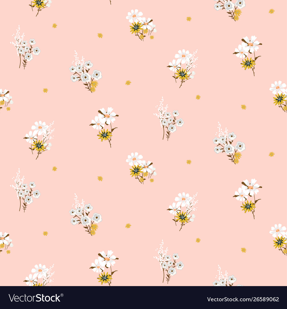 Flowers daisy vintage tender colors seamless