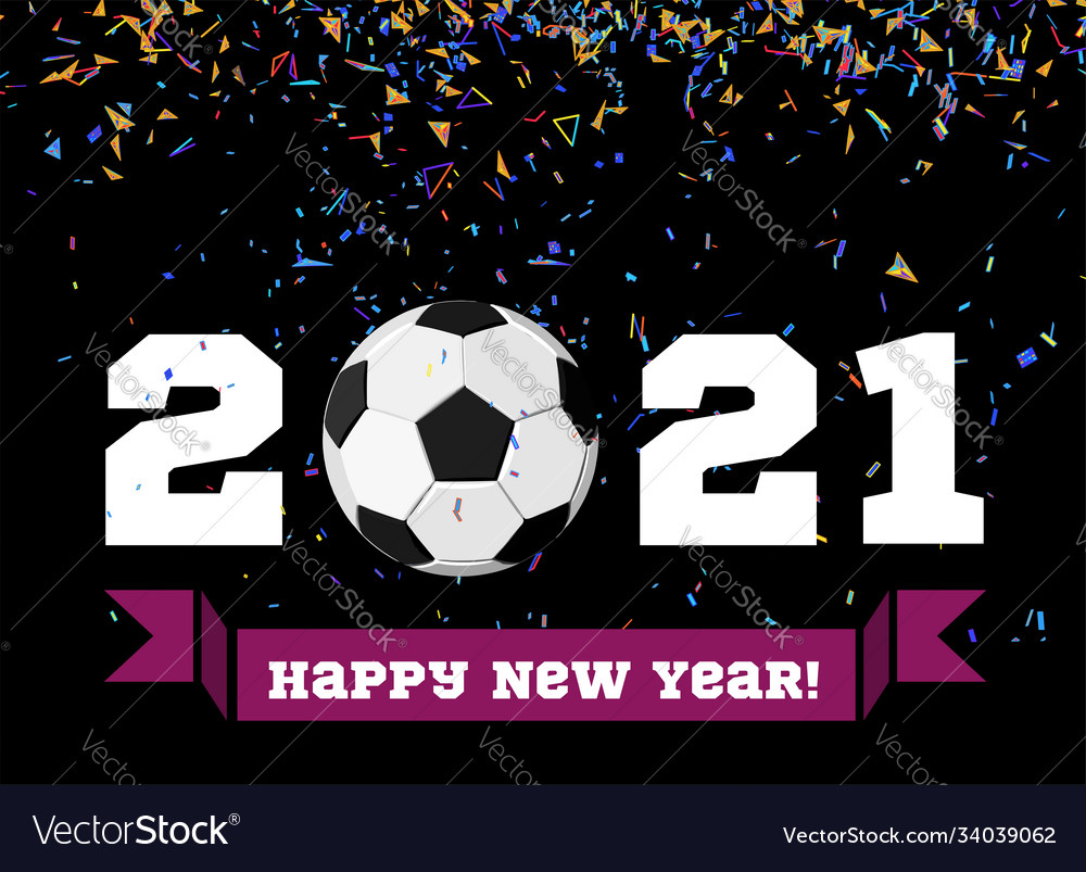 Happy new year 2019 with football ball