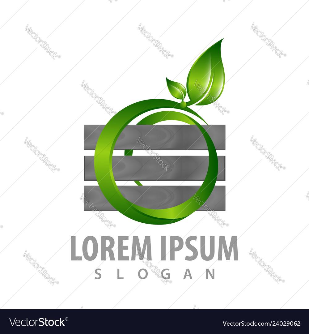 Logo concept design wall with circle leaf symbol