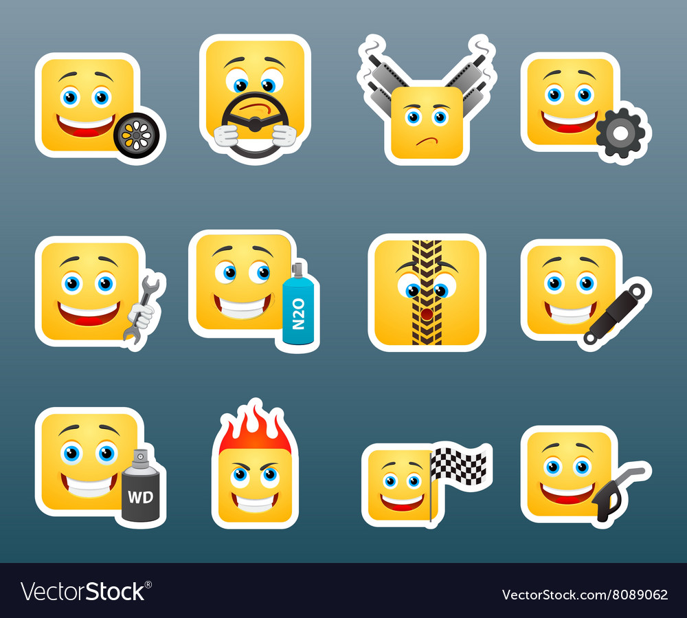 Mechanic smile stickers set