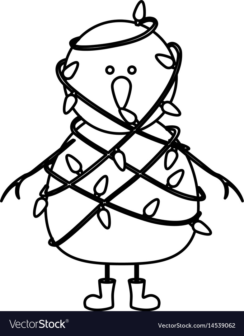 Christmas Boots Drawing.Monochrome Contour Of Snowman With Boots And