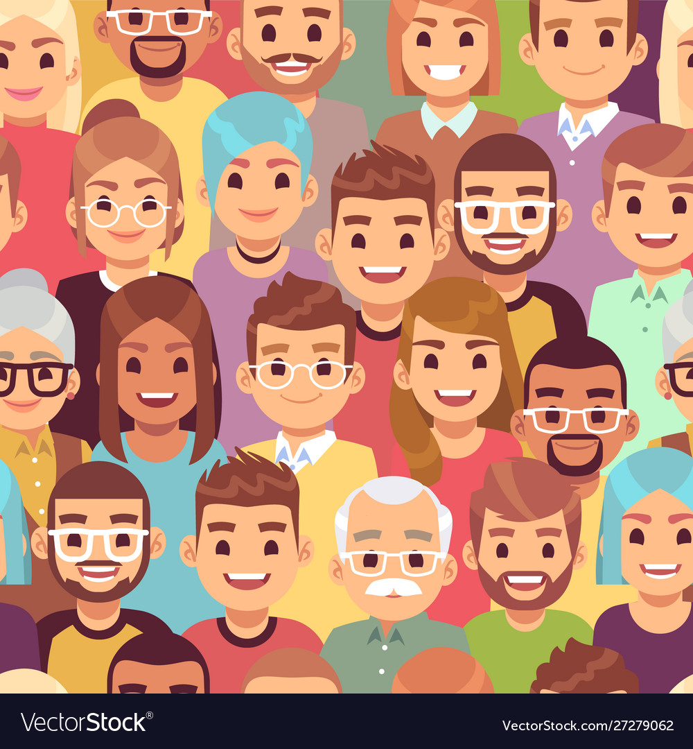 People seamless pattern multi ethnic men and