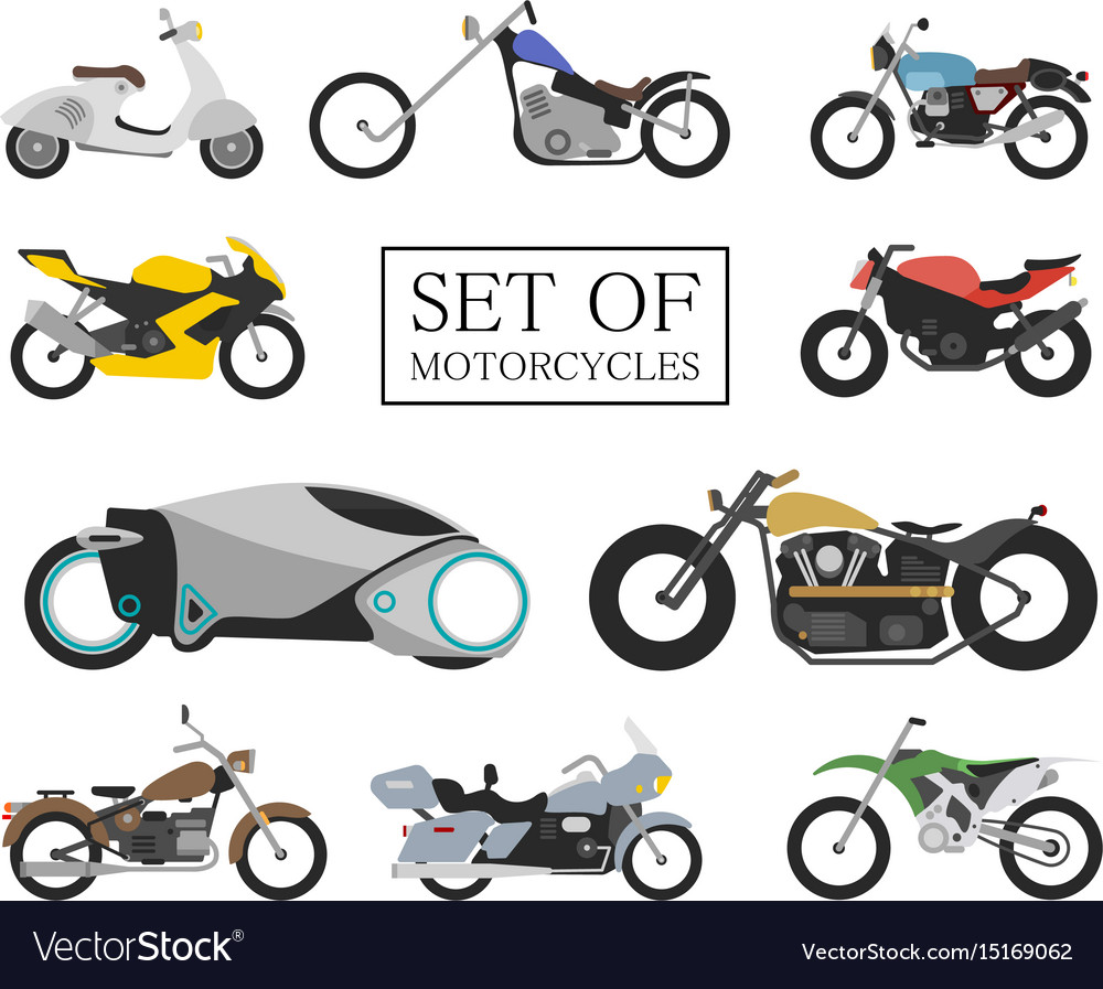 Set of motorcycle icons retro and modern flat