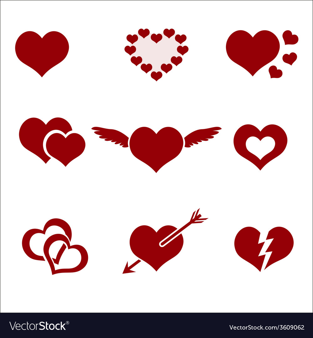 Set Of Red Valentine Hearth Love Symbols Eps10 Vector Image