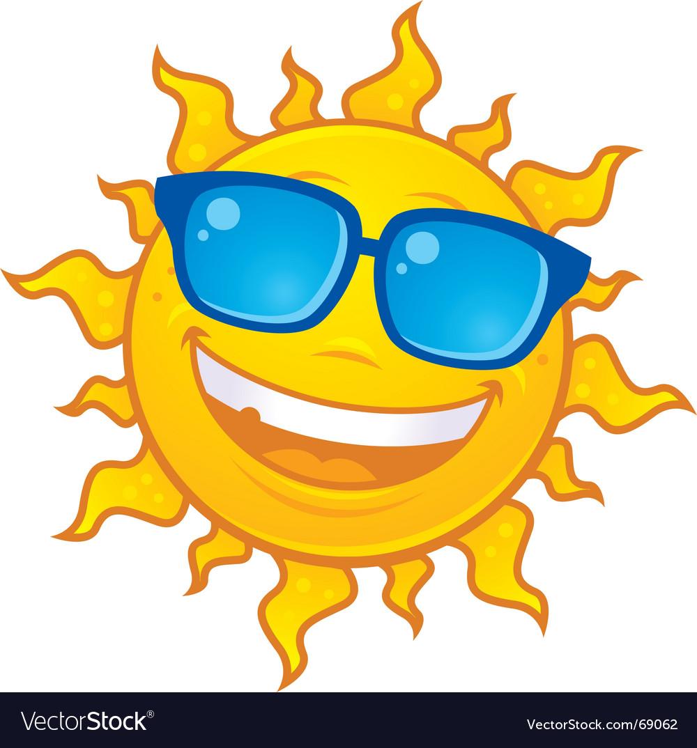 Sun wearing sunglasses vector image