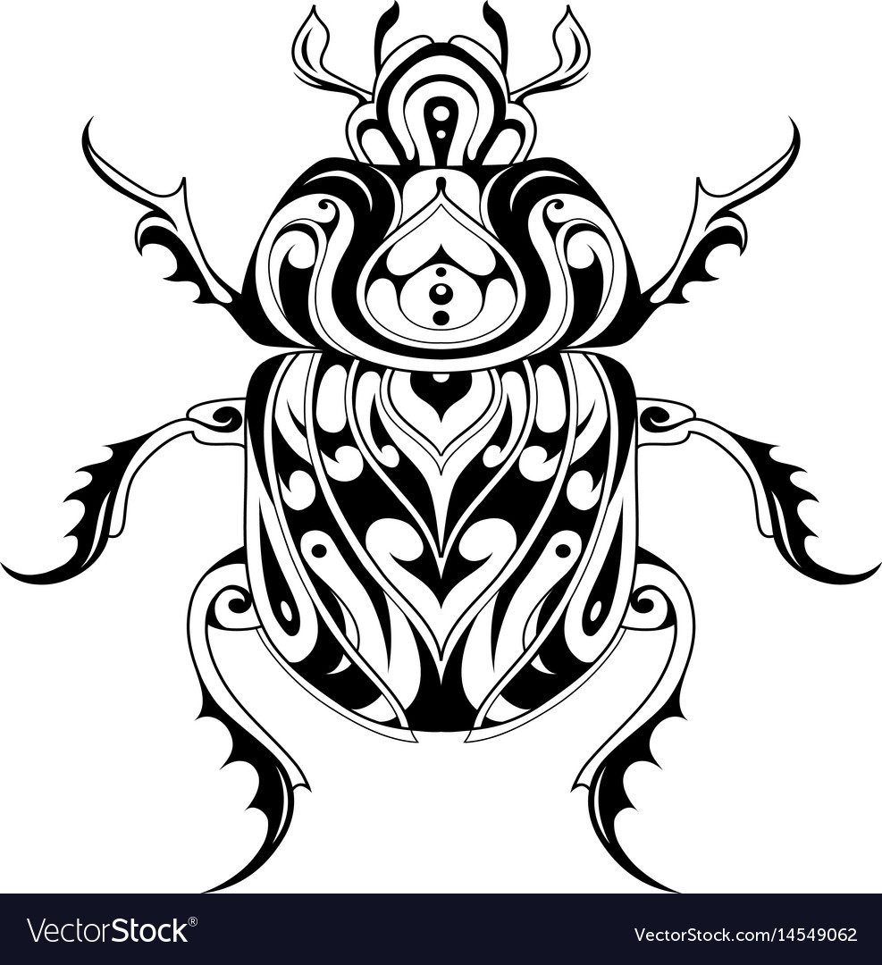 Tribal style bug tattoo