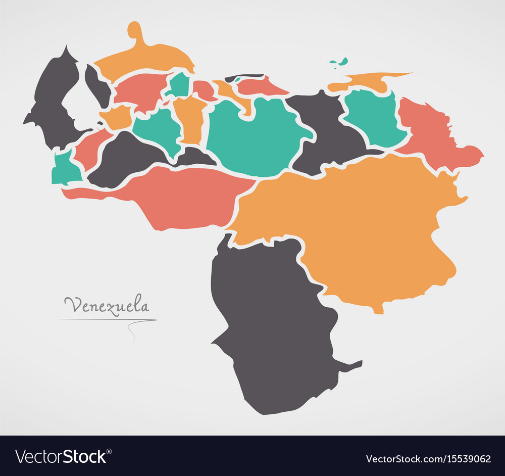 Venezuela Map With States And Modern Round Shapes Vector Image