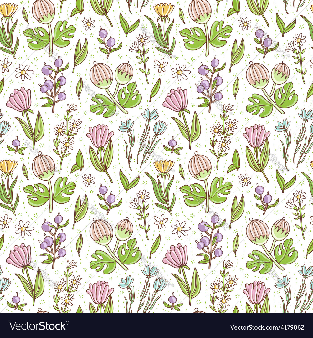 Wild floral colorful seamless pattern background