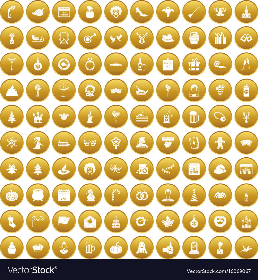 100 holidays icons set gold vector image