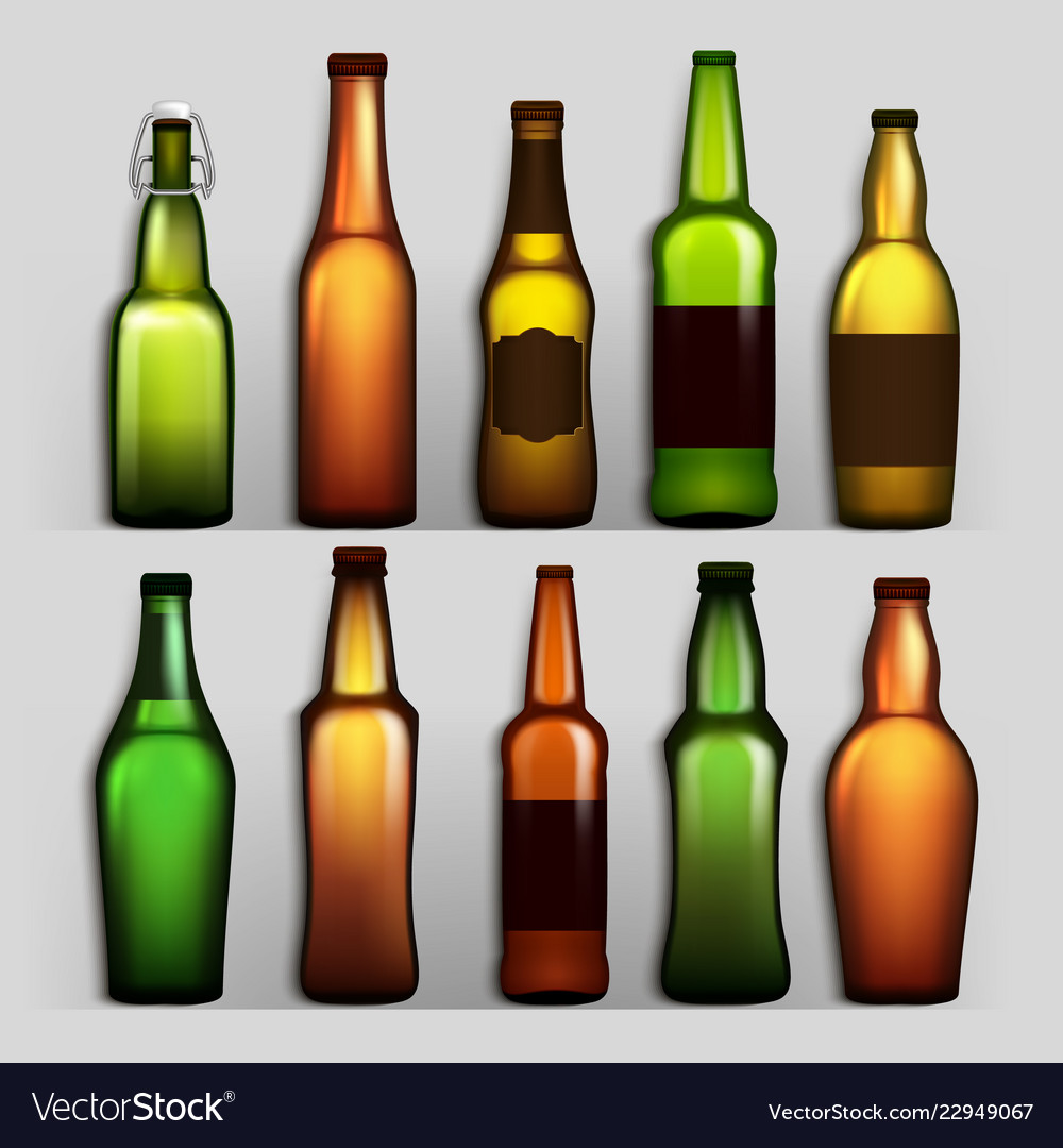 Beer bottles set different empty glass for