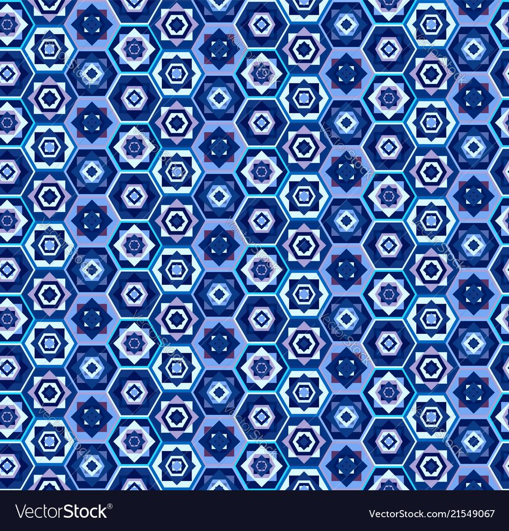 Blue geometric carpet pattern with hexagons