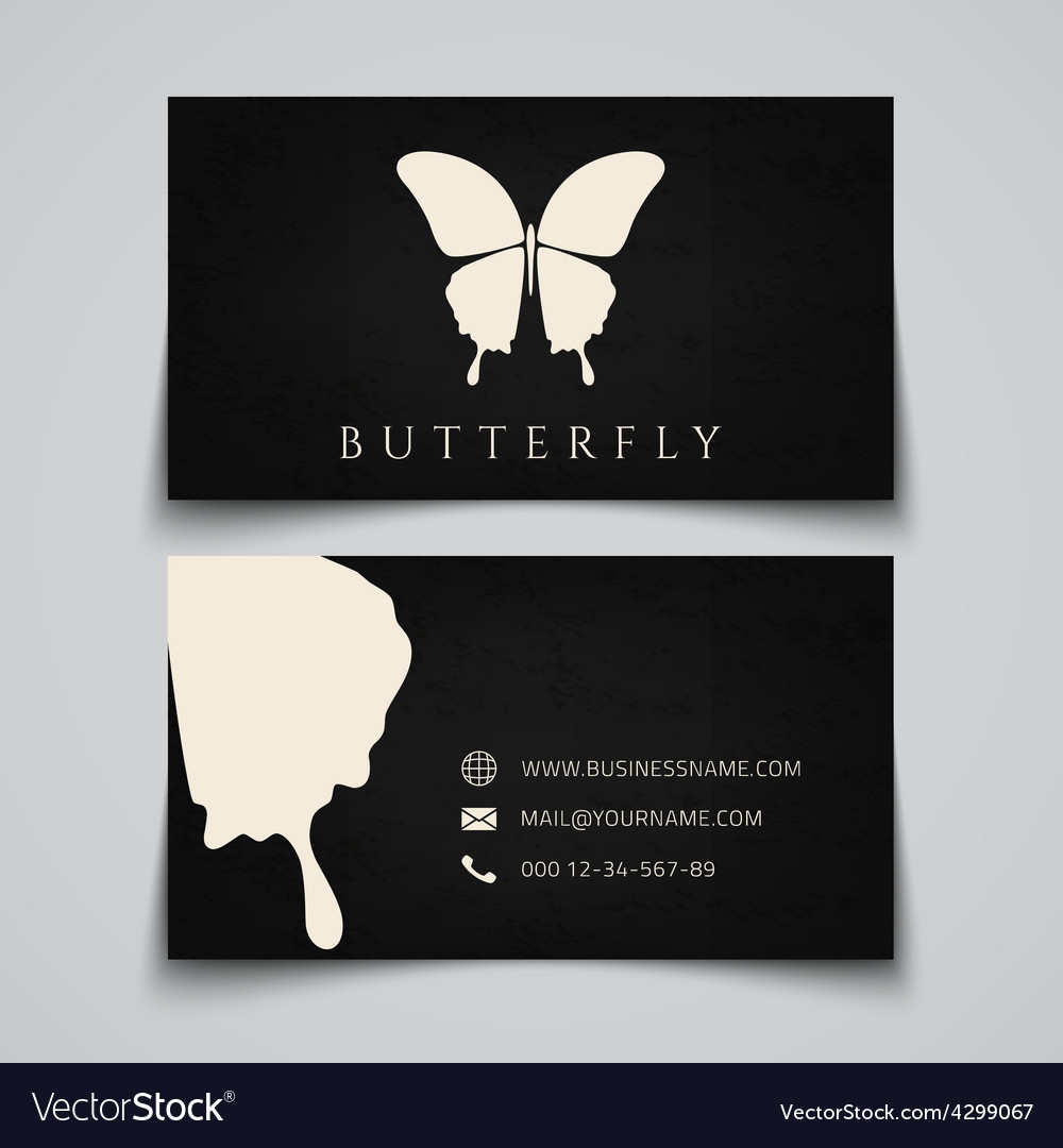 Business card template Butterfly logo Royalty Free Vector