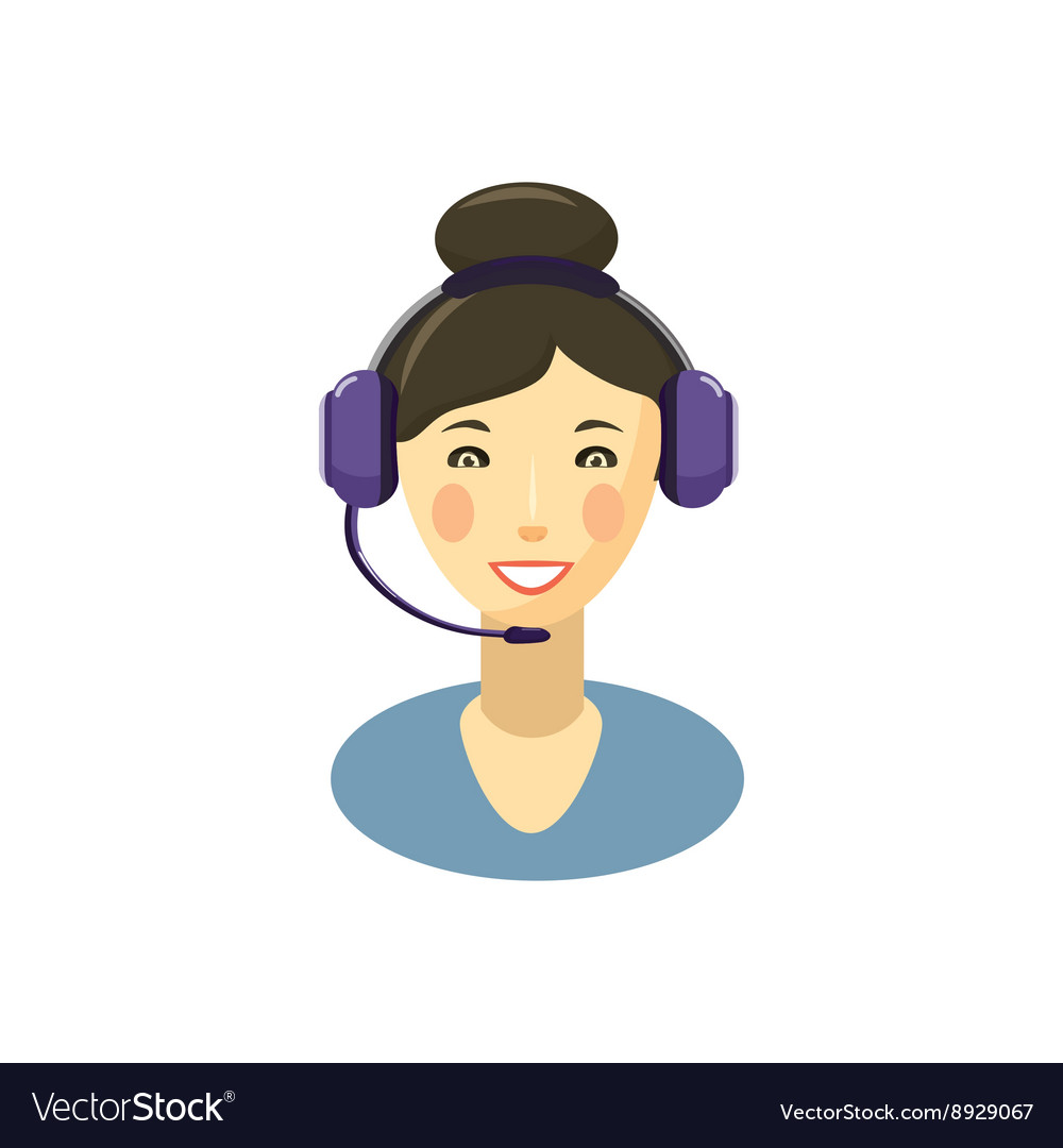 Call center smiling operator with headset icon