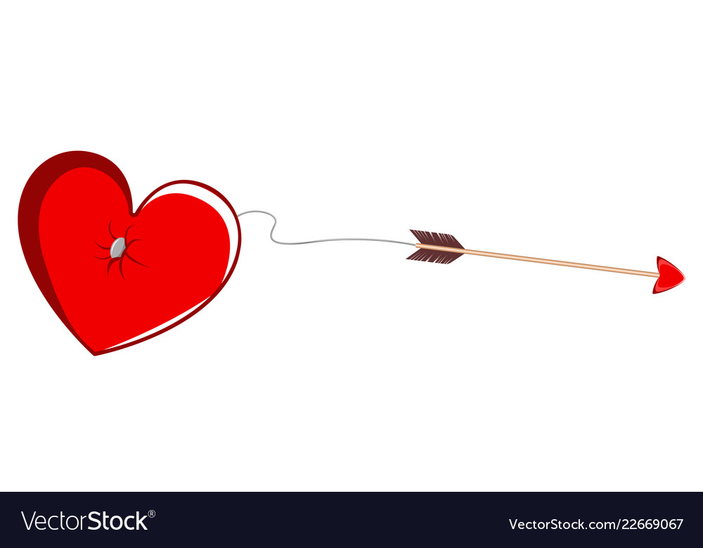 Cupid Arrow Tied To A Heart Shape Valentine Day Vector Image