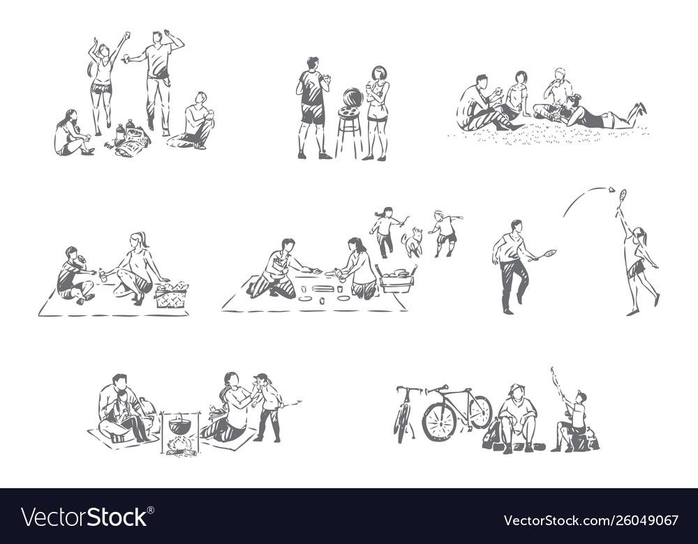 Family outdoor recreation concept sketch