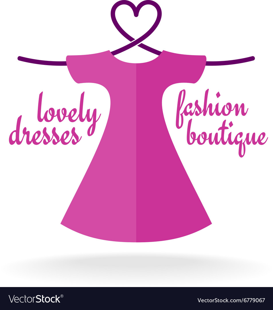Fashion boutique dress with heart shaped shoulder vector image