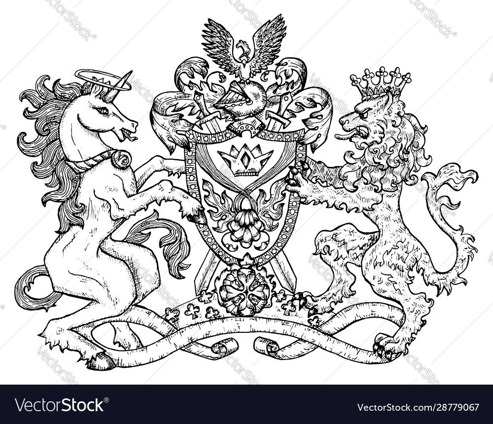 Heraldic emblem with unicorn and fairy lion