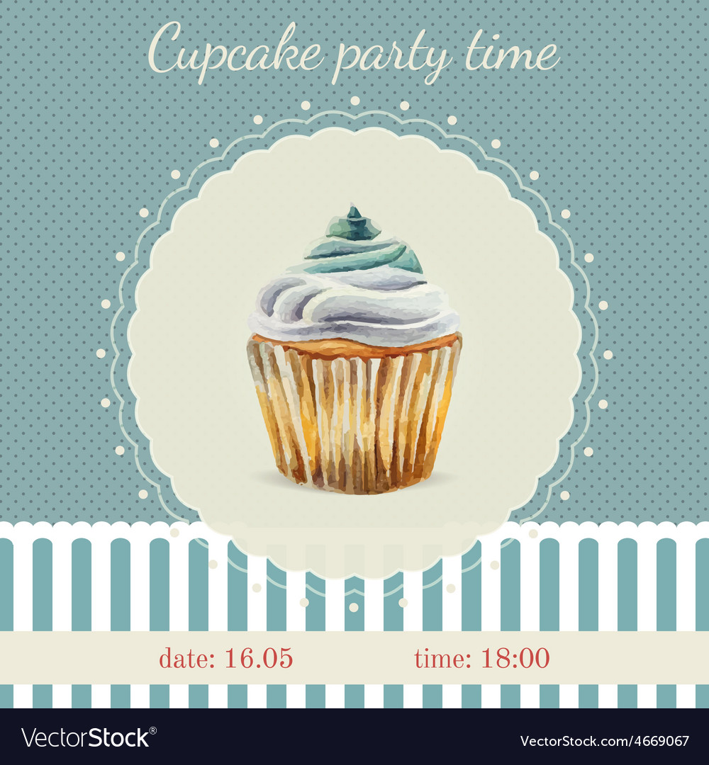 Invitation template with watercolor cupcakes