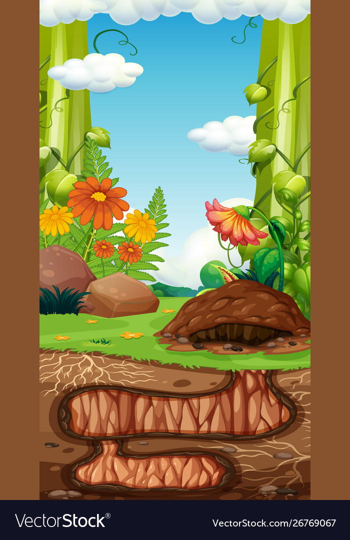 Landscape Design With Hole Underground Royalty Free Vector