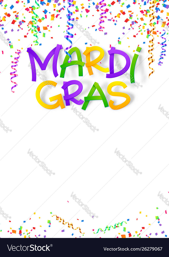 Mardi gras traditional colors sign on confetti and