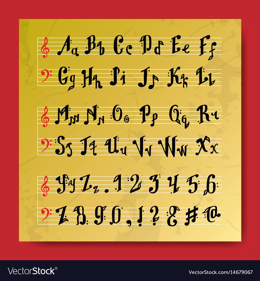 Musical decorative education music notes alphabet