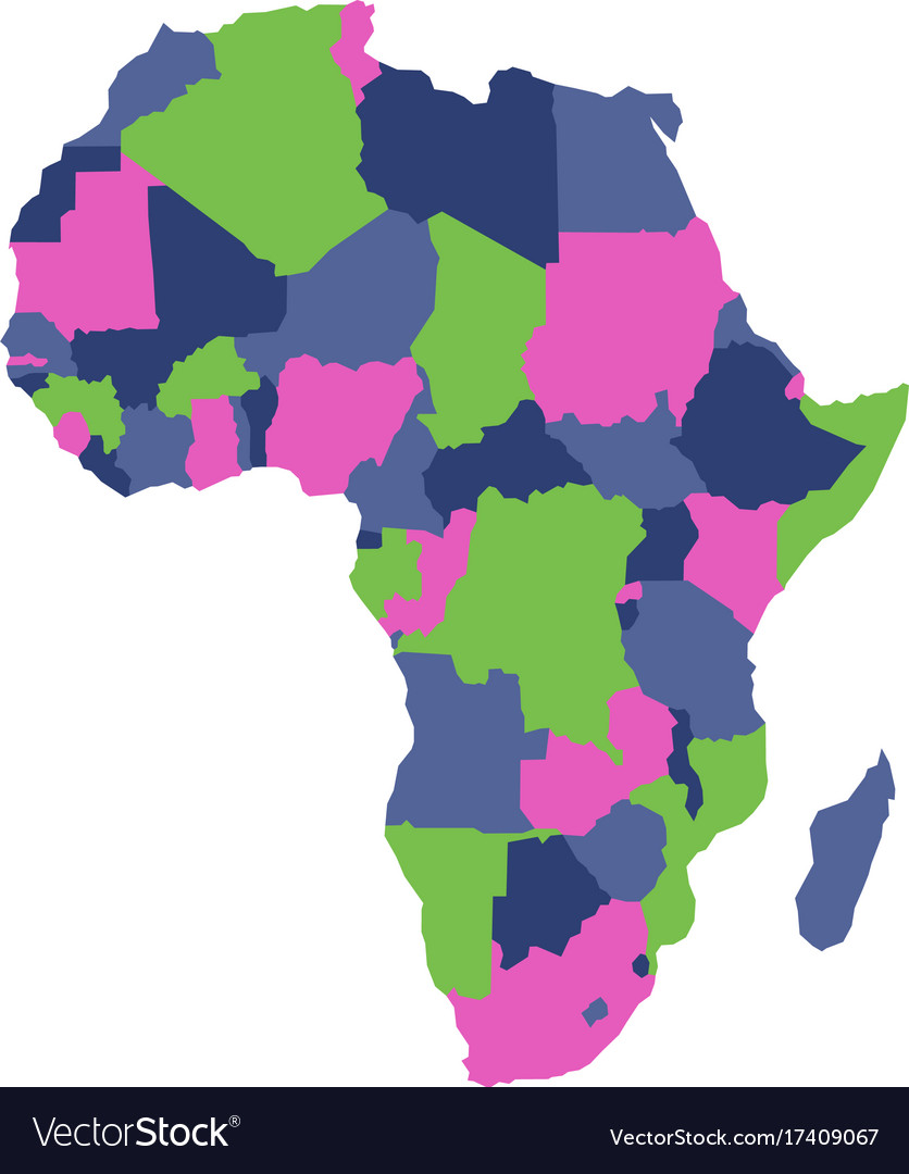 Political map of africa continent in four colors Vector Image