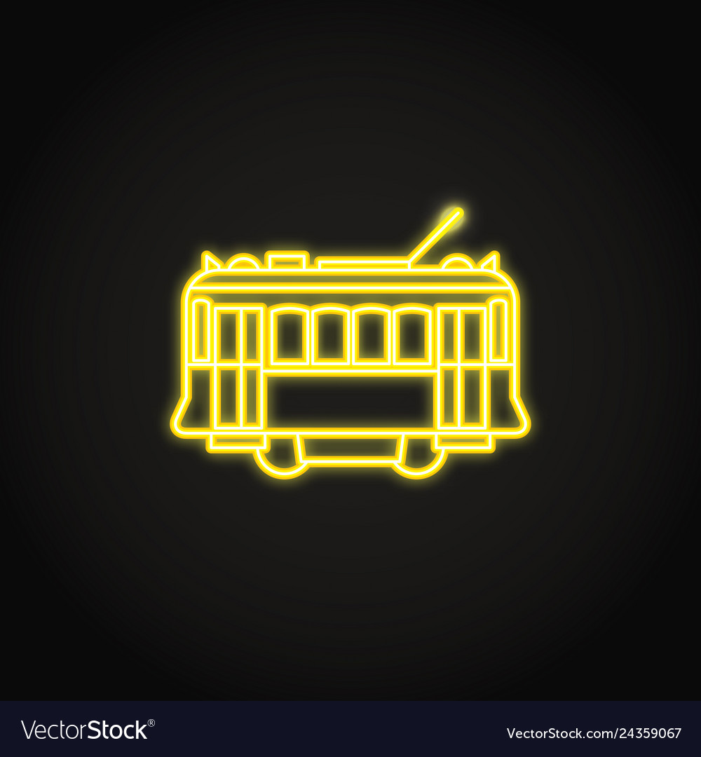 Portuguese yellow tramway icon in glowing neon