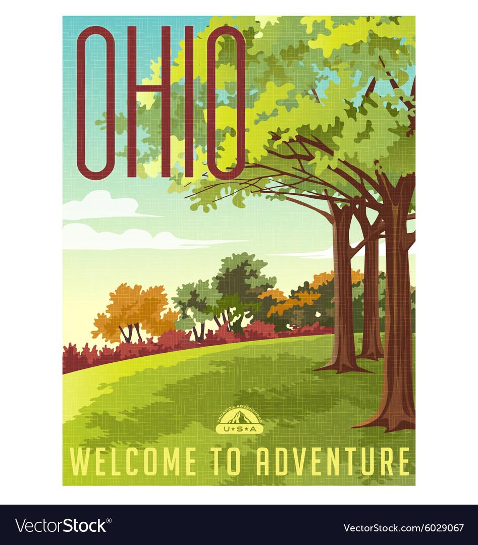 Retro style travel poster or sticker Ohio