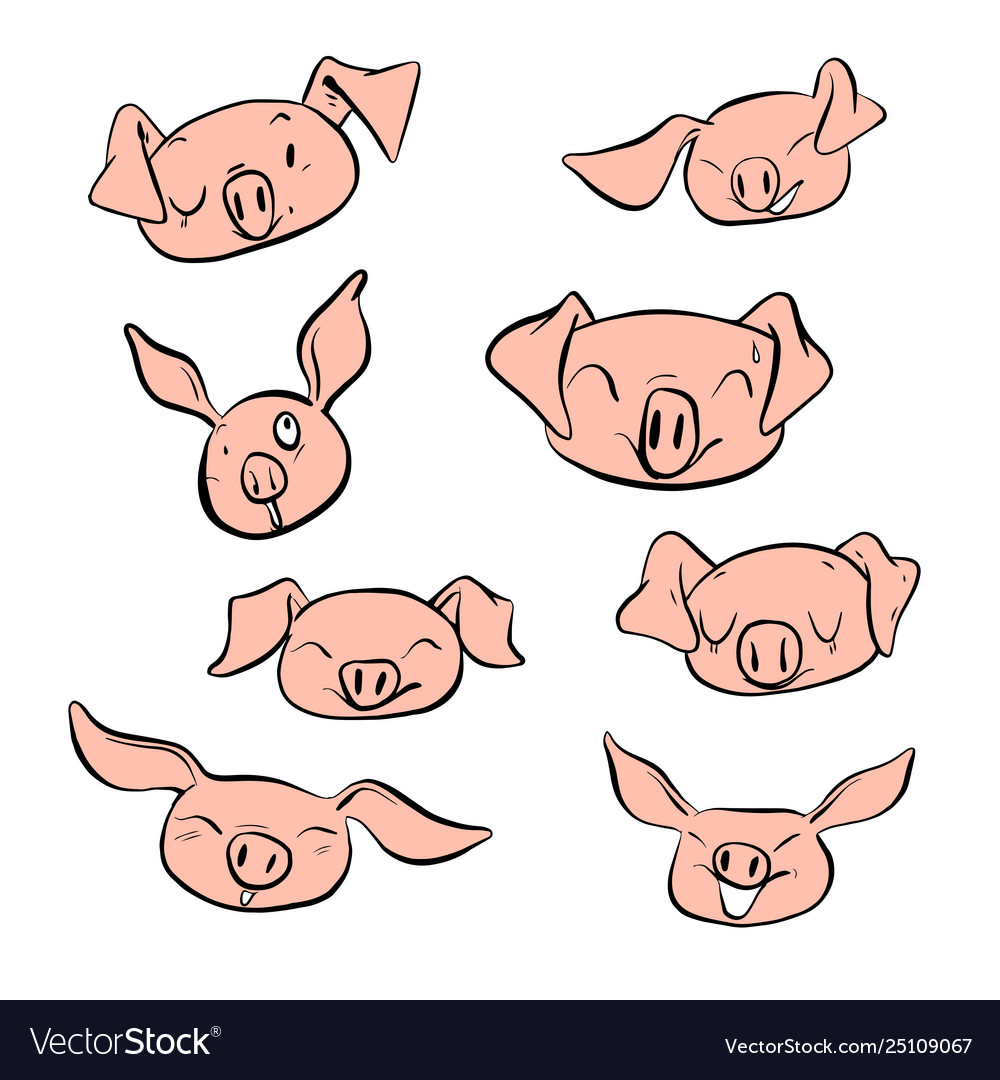 Set design different emotion face pig