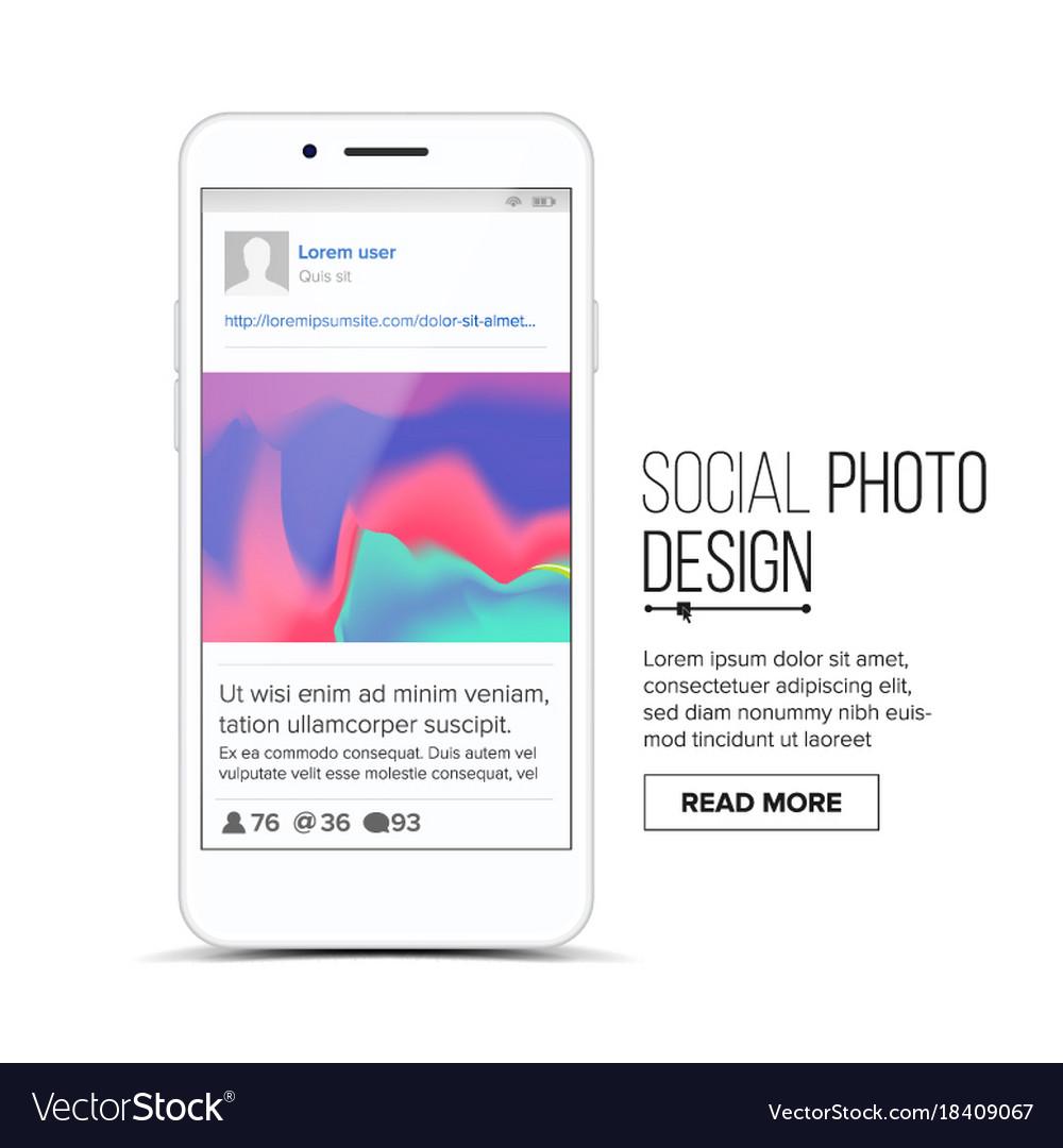 Social photo frame mobile app Royalty Free Vector Image