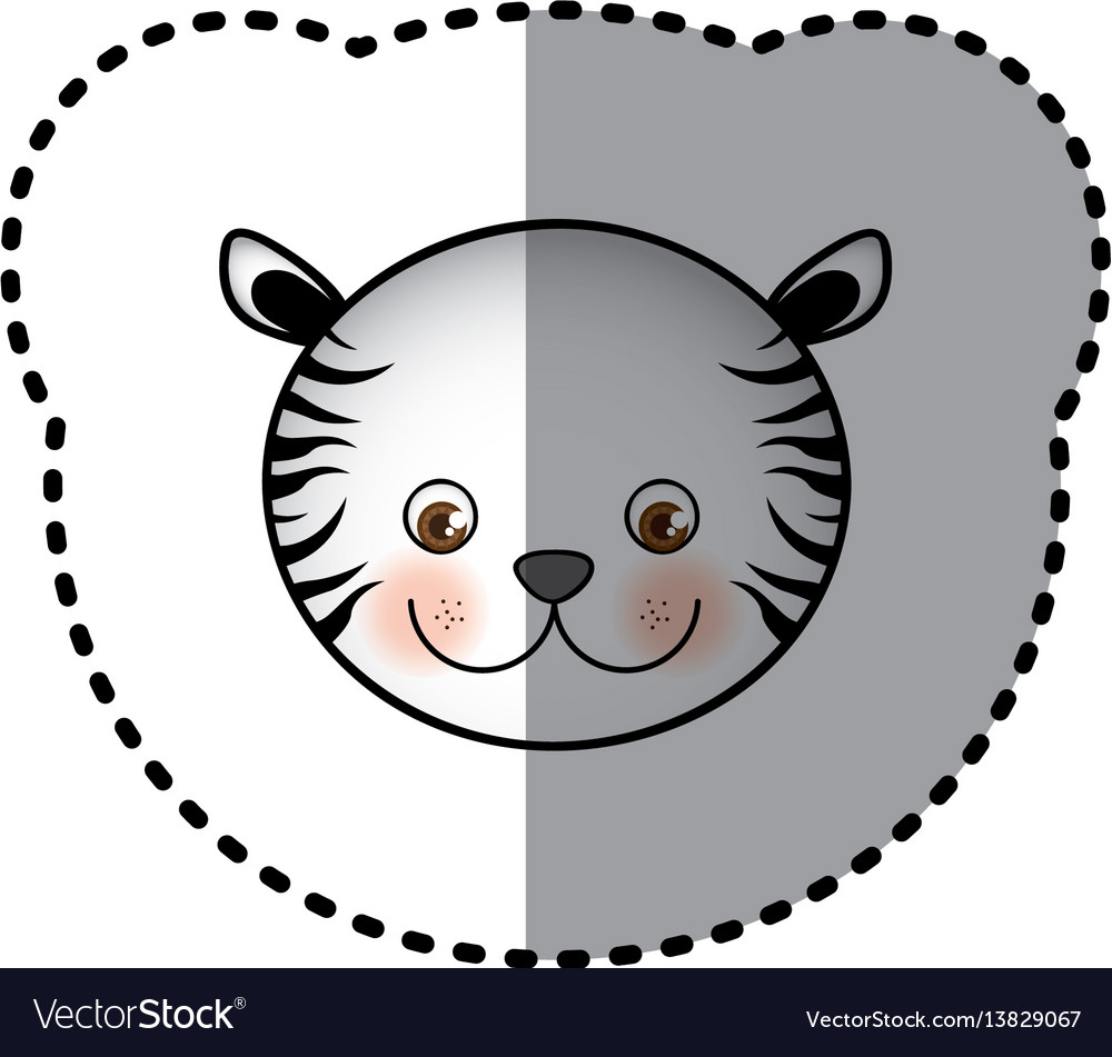 Sticker colorful picture face cute tiger animal vector image