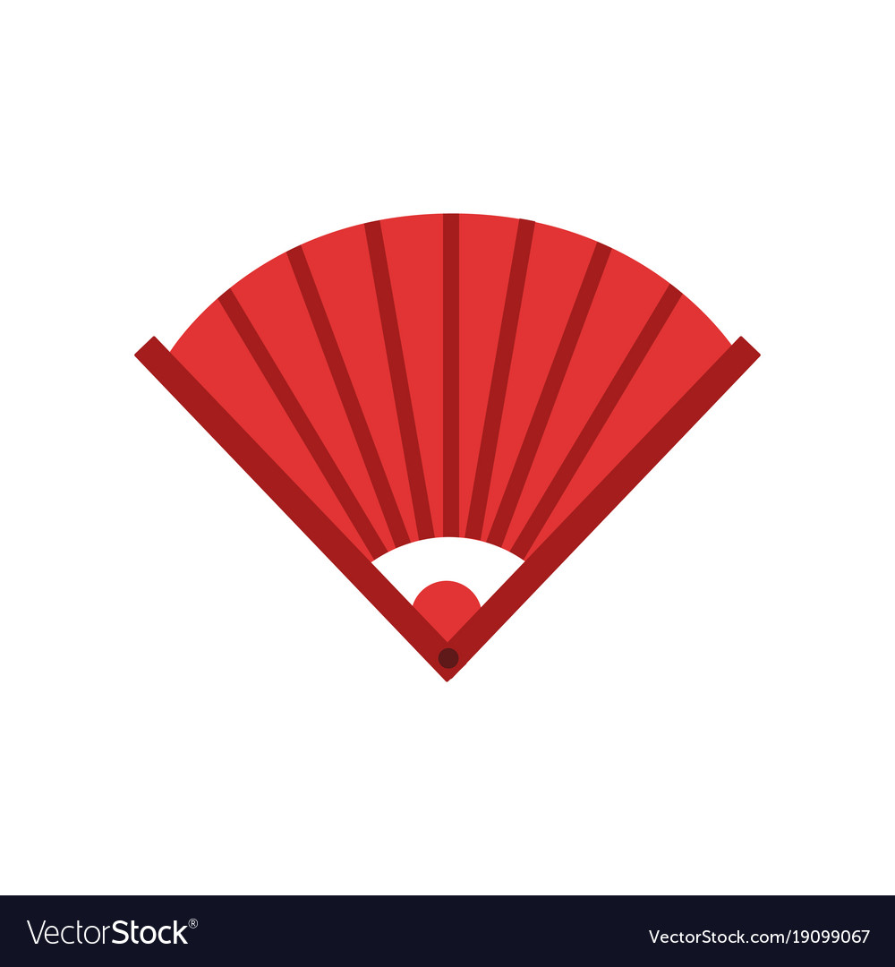 Traditional chinese bamboo hand fan icon in red