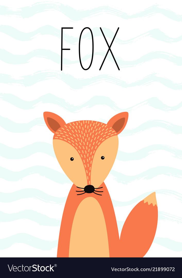 Cartoon cute fox poster card