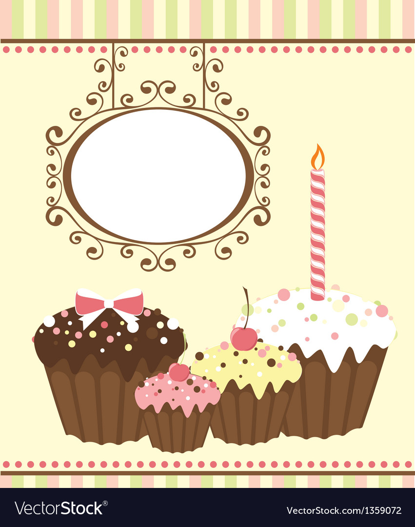 Celebration card with three muffins