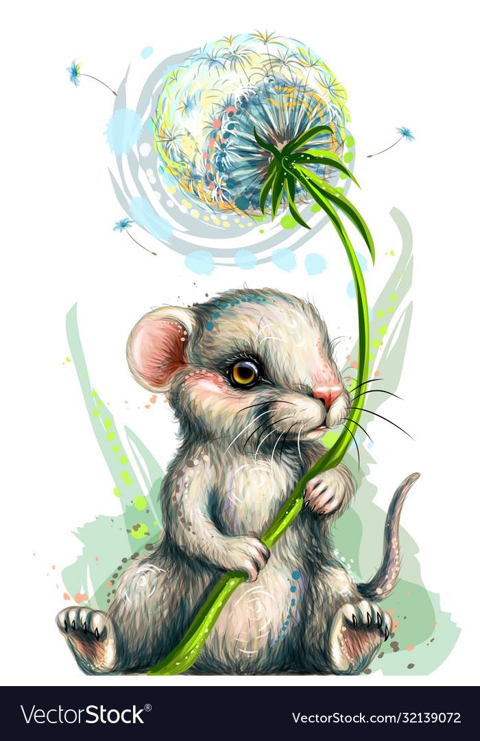 Cute little mouse holds a dandelion flower