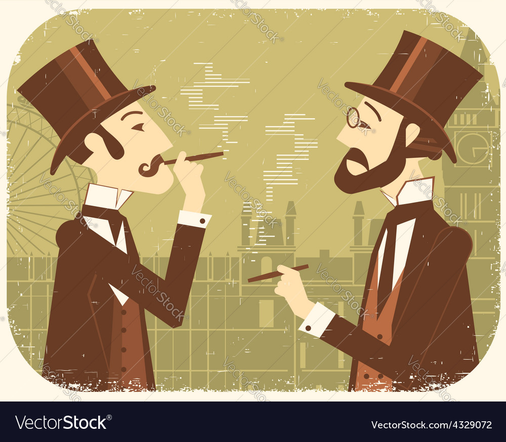 Gentlemen in bowler hatsVintage London background
