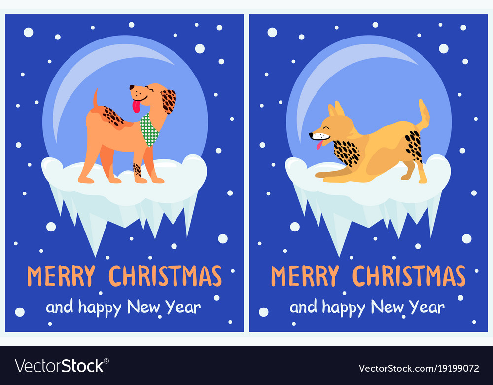 Merry Christmas And Happy New Year 2018 Symbols Vector Image