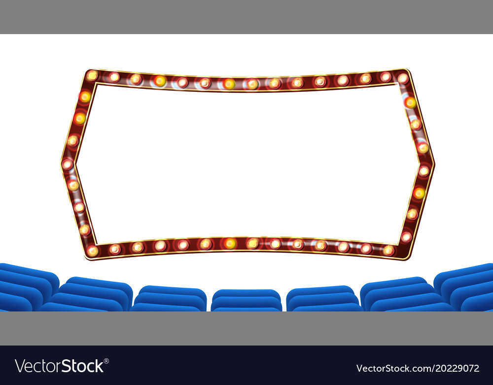 Retro cinema theater curtain frame light vector image