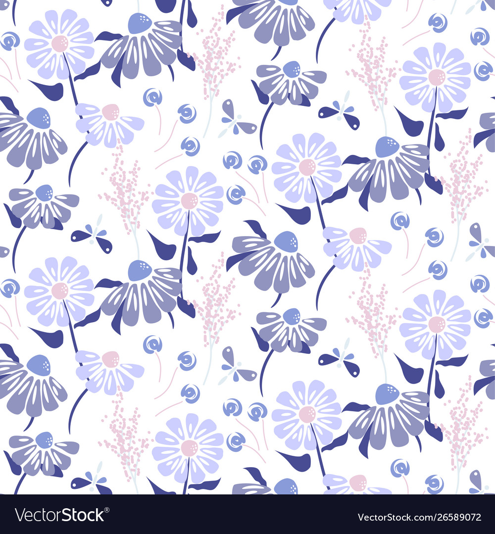 Rustic Flowers Vintage Blue Purple Colors Seamless