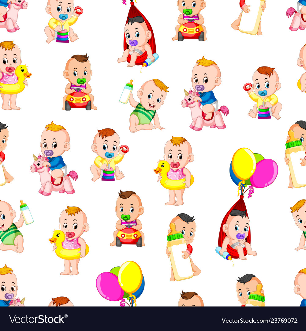 Seamless pattern with babys happy playing